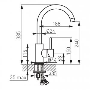 Baterie stativa spalator FERRO Lugio BLG4, crom1