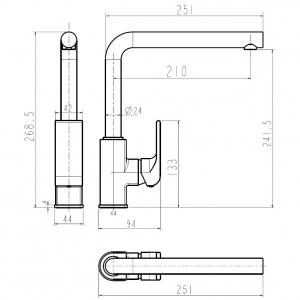Baterie stativa spalator FERRO Sharp 37713.0, crom cu pipa inalta1