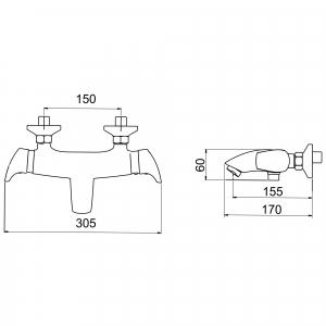 Baterie termostatata perete cada/dus FERRO Metalia 57 57920/1.0, crom fara accesorii1