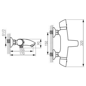 Baterie termostatata perete cada/dus FERRO Metalia 57 57921/1.0, crom fara accesorii1