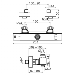 Baterie termostatata perete dus FERRO Aquasave 2862/1.0, cu 2 iesiri, crom1