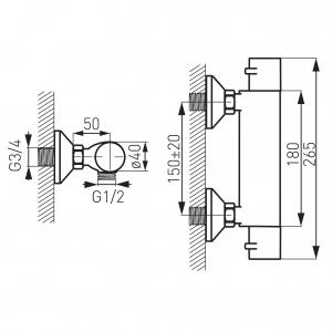 Baterie termostatata perete dus FERRO Varese TAM7, crom fara accesorii1