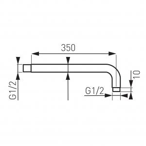 Brat fix 350 mm pentru cap dus din perete FERRO RN35, crom1
