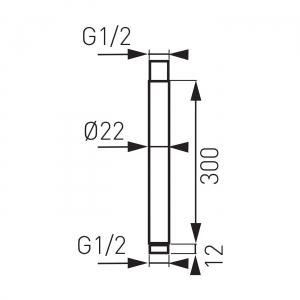 Brat fix 350 mm pentru cap dus din tavan FERRO RNS30, crom1