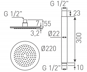 Cap de dus fix cu brat din tavan L=300 mm FERRO Rotondo NPT05, 9 inch, crom1