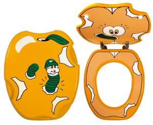 Capac WC (pentru copii) din lemn masiv FERRO, decor viermisor0