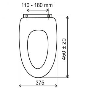 Capac WC universal din plastic FERRO, alb1
