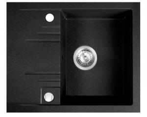 Chiuveta granit, 1 cuva si storcator 48x58 FERRO MEZZO II DRGM48/58HA, grafit shine0