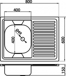Chiuveta inox cu o cuva si storcator FERRO DR60/80PTS.H, dreapta 60x80 cm, anticalcar montaj pe masca1