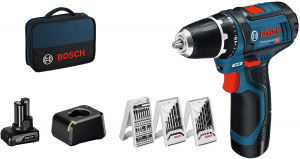 Masina de gaurit si insurubat (bormasina) Bosch GSR 12V-15 cu set de accesorii, 10.8 V, 2 Ah, 30 Nm, 2 acumulatori, incarcator0