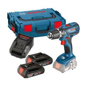 Masina de gaurit si insurubat (bormasina) Bosch GSR 18-2-LI PLUS, 18 V, 4 Ah, 63 Nm, 2 acumulatori si incarcator0