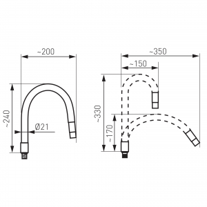 Pipa elastica pentru baterie spalator FERRO Elastico W100W-B, alb1
