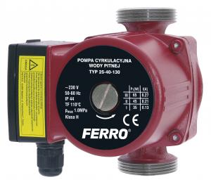 Pompa recirculare FERRO 0203W, 25-40 130, 10 BAR, 65W, 130mm, 3,5 m³/h0