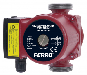 Pompa recirculare FERRO 0204W, 25-60 130, 10 BAR, 100W, 130mm, 4,5 m³/h0