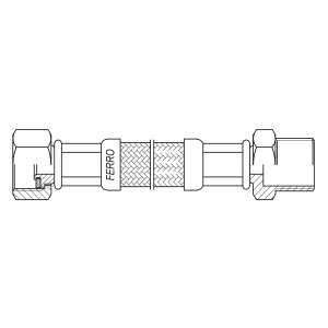 "Racord flexibil pentru apa FERRO PWS411, 1/2""x1/2"" FI-FE  25cm1"
