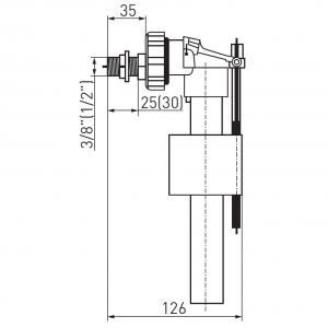 Robinet flotor universal FERRO 490.P, 3/8+1/2 cu alimentare laterala pentru rezervor wc1