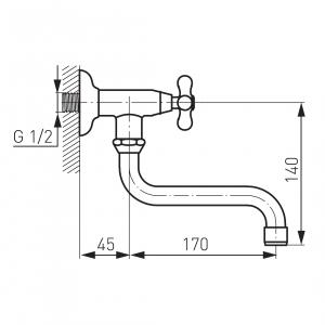 Robinet perete lavoar/spalator FERRO Z40 pentru apa rece, crom1