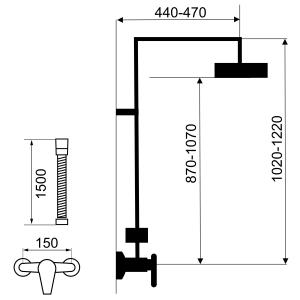 Set 2 in 1 FERRO Tina alb/crom: 38062/1,1 baterie perete dus,  cu set bara dus cu suport culisant, dus fix si para dus mobila1