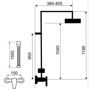 Set 2 in 1 FERRO Tina crom: 38062/1,0 baterie perete dus,  cu set bara dus cu suport culisant, dus fix si para dus mobila1