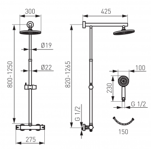 Set 2 in 1 FERRO Trevi: TRV7 baterie perete dus termostatata cu set bara dus cu suport culisant, dus fix si para dus mobila, crom1