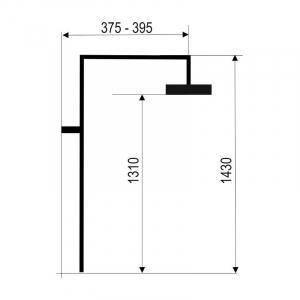 Set bara dus cu tub de prelungire pentru baterii FERRO SET065.0, 42023, crom1