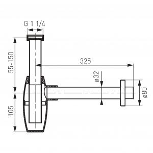 Sifon lavoar din alama FERRO Oval S286, 1 1/4 x 32 mm, crom1