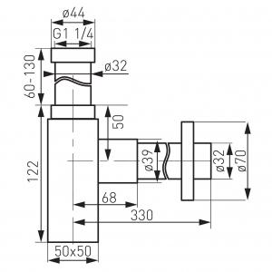 Sifon lavoar din alama FERRO Quadro S280, 1 1/4 x 32 mm, crom1