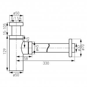 Sifon lavoar din alama FERRO S282, 1 1/4 x 32 mm, crom1