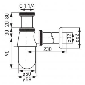 Sifon lavoar din alama FERRO S30, 1 1/4 x 32 mm, crom fara ventil1