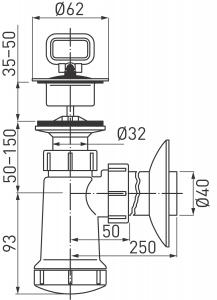 Sifon lavoar FERRO 420.P, 1 1/4x40 mm PP alb tip butelie cu ventil si dop1