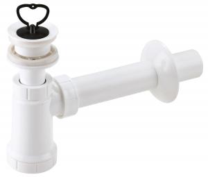 Sifon lavoar FERRO 420.P, 1 1/4x40 mm PP alb tip butelie cu ventil si dop0