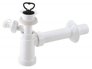 Sifon lavoar FERRO 422.PP, 1 1/4x40 mm PP alb tip butelie cu ventil, dop si racord masina de spalat0