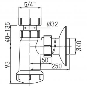 Sifon lavoar FERRO 430.P, 1 1/4x40 mm, PP alb tip butelie1