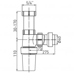 Sifon lavoar FERRO 431.P, 1 1/4x40 mm, PP alb tip butelie1
