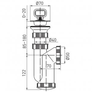 Sifon lavoar FERRO 440.P, 1 1/2x40/50 mm, PP alb cu ventil  si dop1