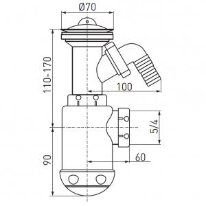 Sifon lavoar FERRO 443.PP, 1 1/2x40/50 mm, PP alb tip butelie cu ventil, dop si racord masina spalat1
