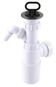 Sifon lavoar FERRO 443.PP, 1 1/2x40/50 mm, PP alb tip butelie cu ventil, dop si racord masina spalat0