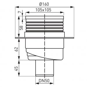 Sifon pardoseala FERRO 451.0, PEHD 1, iesire verticala, diametru 50mm, gratar inox 105x1051