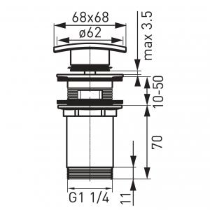 """Ventil lavoar FERRO Quadro S284, click-clack din alama  1 1/4"""" cu preaplin, crom1"""
