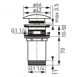 """Ventil lavoar FERRO Rotondo S285, click-clack din alama  1 1/4"""" cu preaplin, crom1"""