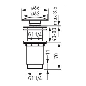 """Ventil lavoar FERRO Rotondo S285-WBP, click-clack din alama  1 1/4"""", cu preaplin, crom1"""