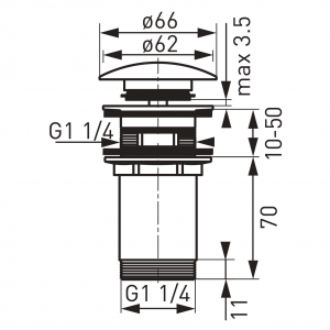 """Ventil lavoar FERRO Rotondo S285NC, click-clack din alama  1 1/4"""", cu preaplin nichel partial1"""