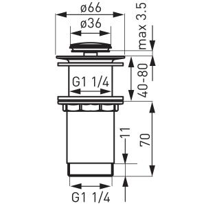 """Ventil lavoar FERRO S283-WBP, click-clack din alama, 1 1/4"""" cu preaplin, crom1"""