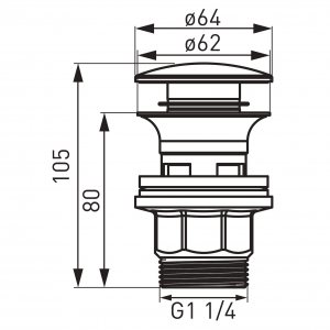 "Ventil lavoar FERRO S287PP-B, click-clack din ABS  1 1/4"" cu preaplin, crom1"