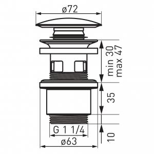 """Ventil lavoar FERRO S288PPC, click-clack din ABS  1 1/4"""" cu preaplin, ceramic alb1"""