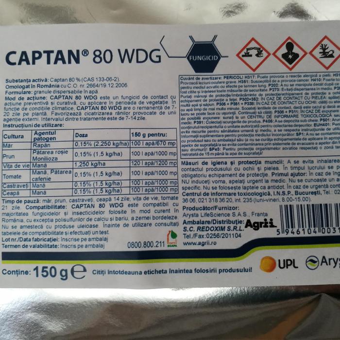 FUNGICID CAPTAN 80 WDG 0