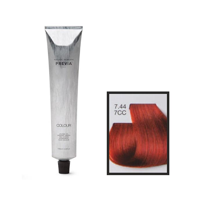 Vopsea permanenta Previa Vibrant Shiny Colour 7.44 7CC Medium Intense Copper Blonde 100 ml 0