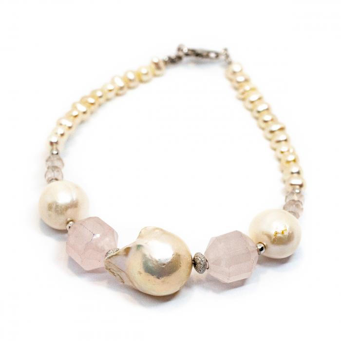 Bratara Creatie cu Perle de Cultura, Cuart Roz si Argint [0]
