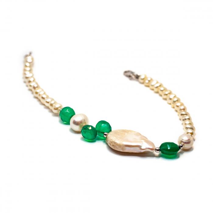 Bratara Creatie cu Perla de cultura,Agat Verde si Argint [0]