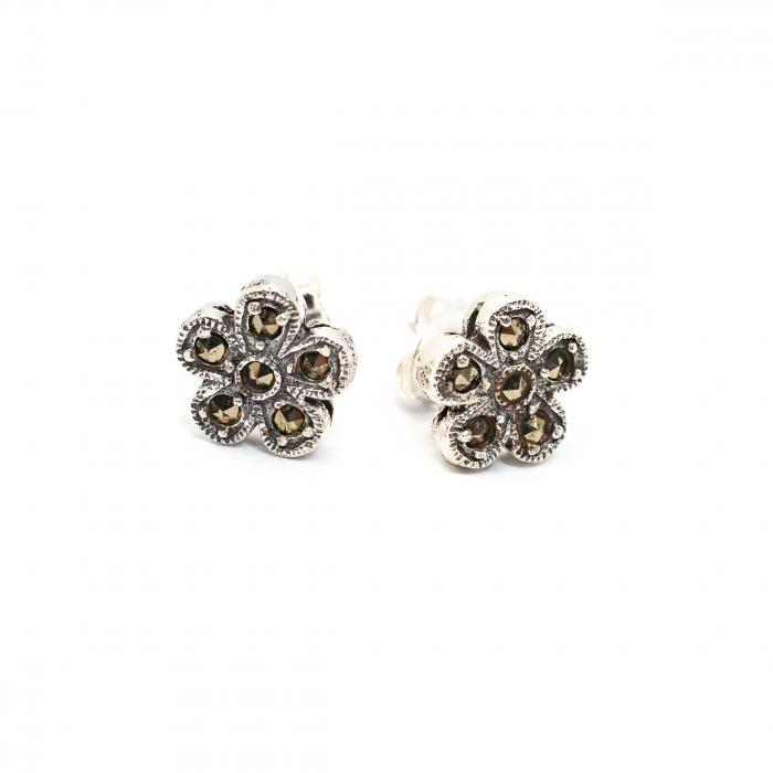 Cercei Floare din Argint cu Marcasite [0]